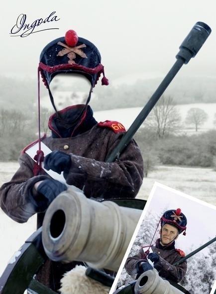 Шаблон для фотошопа - Русский артеллерист ХIX века