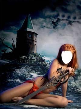 Шаблон для фотошопа - Девушка с мечом