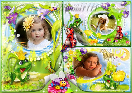 Children frame for Photoshop - Princess Frog