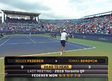 Cincinnati 2011 / Четвертьфинал / Роджер Федерер - Томаш Бердых / Roger Federer - Tomas Berdych / Спорт HD [19.08.2011, HD, 720p, RU, SAT]