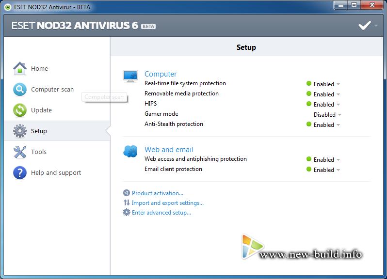 Название программы: ESET NOD32 AntiVirus Версия программы: 6.0.11.0 Beta По