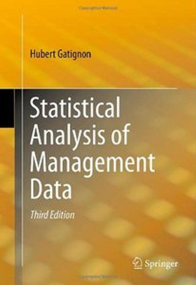Hubert Gatignon, Statistical Analysis of Management Data, 3rd edition