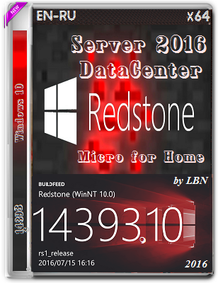 Windows Server 2016 DataCenter 14393.10 MICRO by Lopatkin (x64) (2016) Rus/Eng