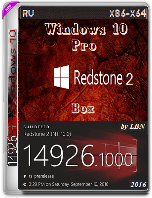 Windows 10 Pro 14926 rs2 BOX by Lopatkin (x86-x64) (2016) Rus