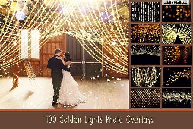 Фоны и наложения - CreativeMarket - 100 Golden Lights Photo Overlays [JPG]