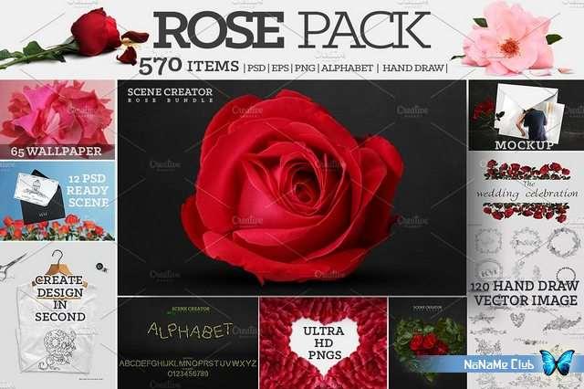 Клипарт - Creative Market - Rose Pack + 570 Ultra HD Elements - 1663274 [PNG, PSD, EPS, JPG]