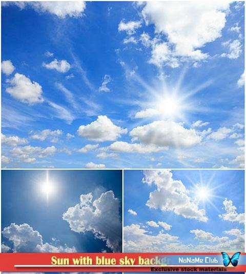 Растровый клипарт - Fotolia - Sun with blue sky background [JPG]