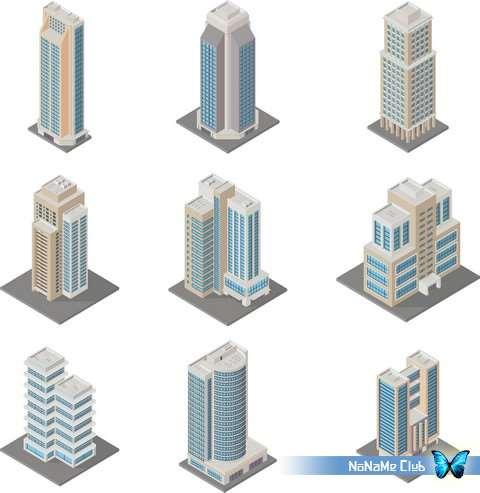 Векторный клипарт - Various Isometric Buildings 25 [AI]