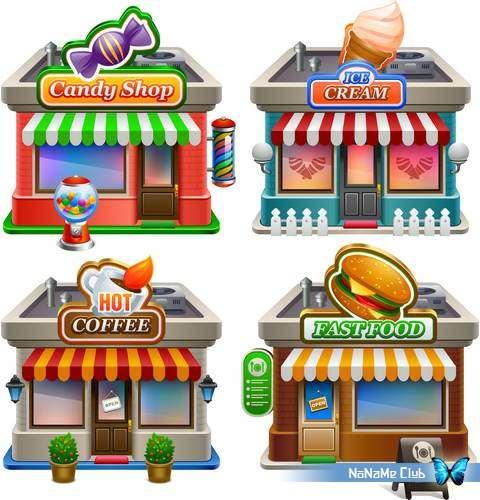 Векторный клипарт - Different Shops Set 19 [AI]