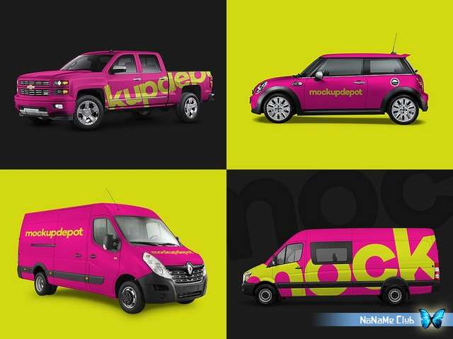 Шаблоны - Creative Market - 4-Pack Vehicle PSD Mockups - 1541891 [PSD]