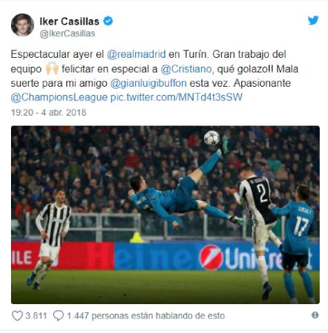 Касильяс поздравил Роналду с великолепным голом