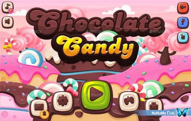 Клипарт - GraphicRiver - Chocolate Candy - Game GUI - 21025507 [CDR, AI, EPS, SVG, PNG]