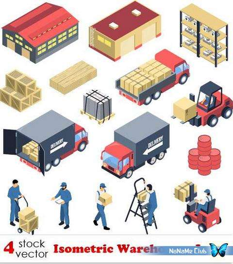 Векторный клипарт - Isometric Warehouses Icons [AI]
