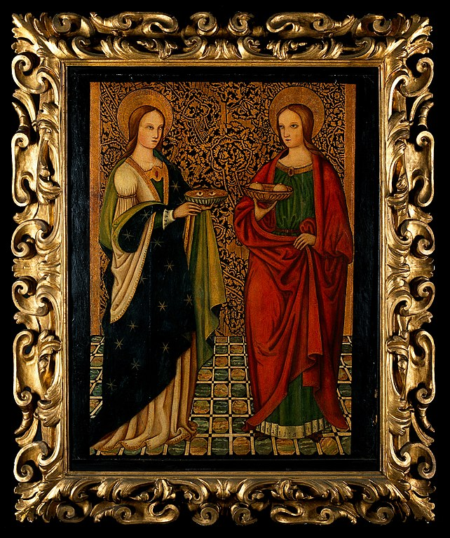 642px-SS._Lucy_and_Agatha._Oil_painting_by_a_Spanish_painter._Wellcome_V0017518.jpg