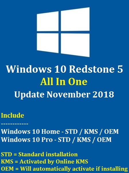 Windows 10 Redstone 5 AIO (6-in-1) En-US (x64) November 2018