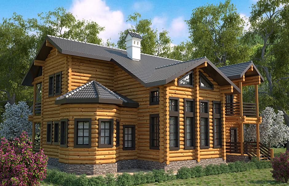 Дом из оцилиндрованного бревна rukladom.ru