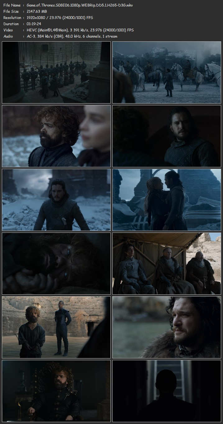 Game Of Thrones Season 8 Complete 1080p WEBRip AC3 HEVC H265-D3G