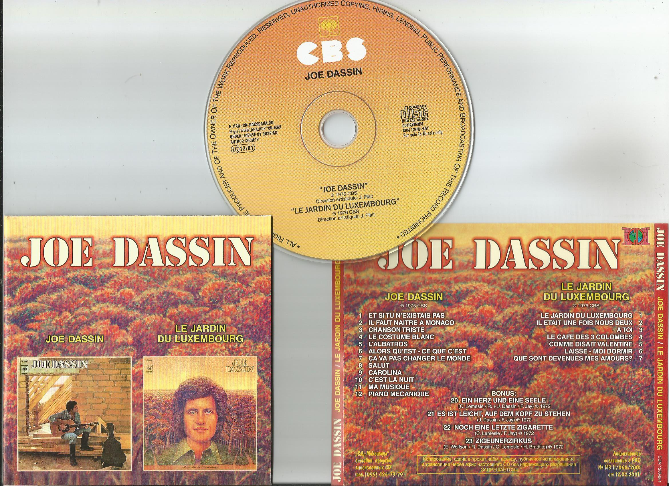 dassin, joe joe dassin/ le jardin du luxemburg + 4bonus tracks (all in 1cd)