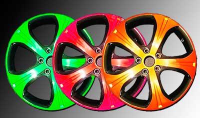 Автомобильные диски, окрашенные порошковыми красками