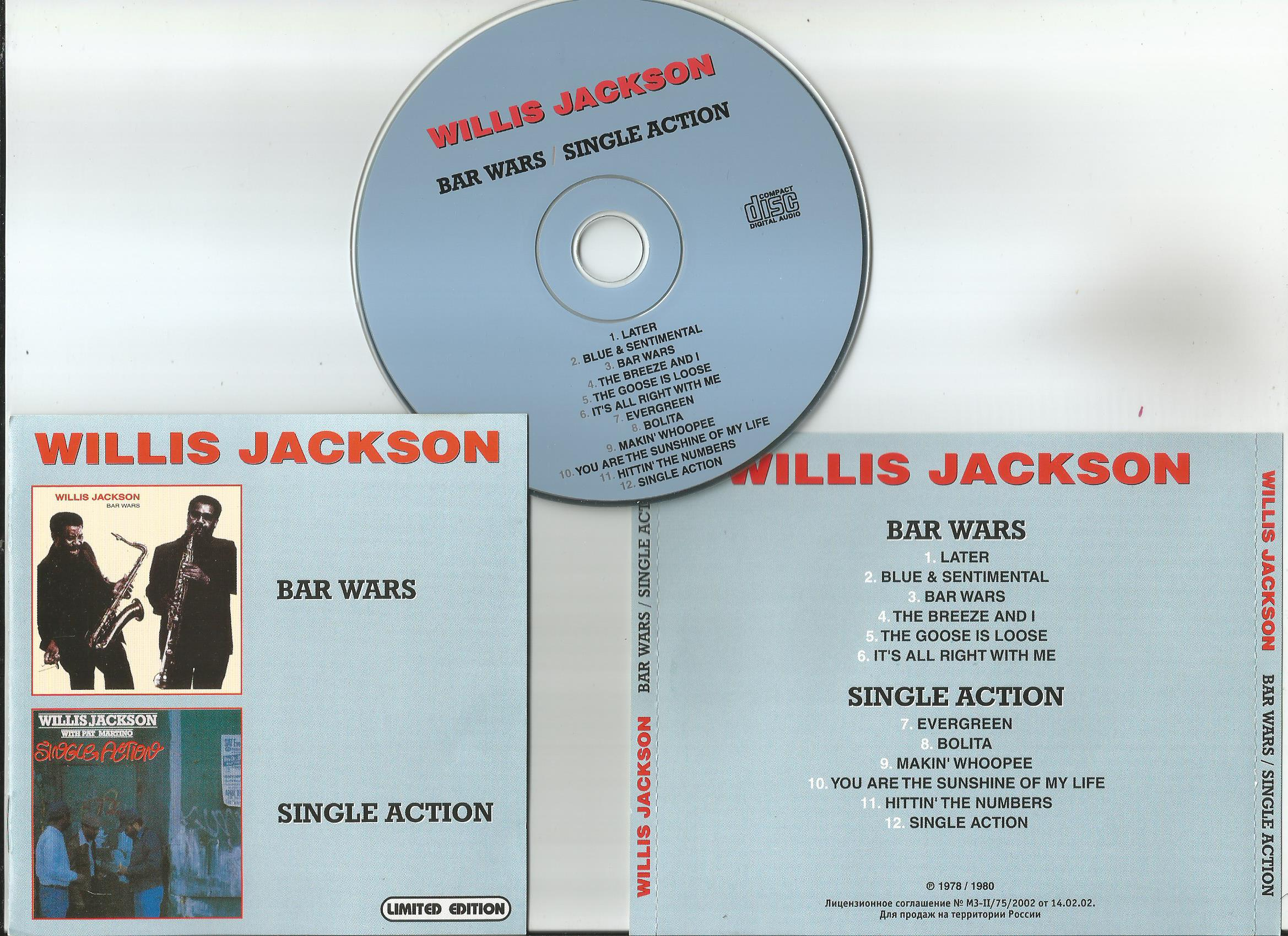 JACKSON, WILLIS Bar Wars/ Single Action (2 in 1CD, 8page booklet)