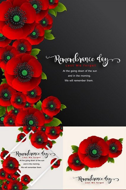 Векторный клипарт - Memorial Day realistic red poppy flower decorative design [EPS]