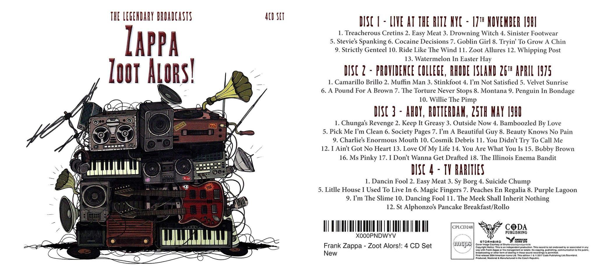 zappa, frank zoot alors! the legendary broadcasts: 4cd set (live at the ritz nyc 17th november 1981, providence c